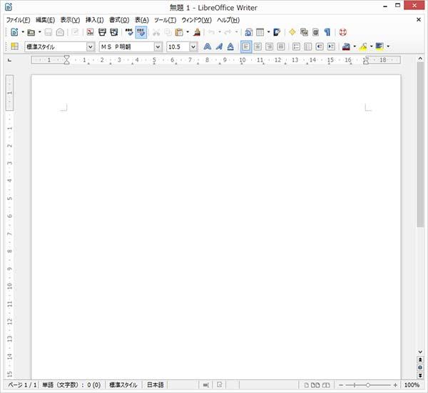 Libre Officeの画面。だいたい普通のワードと同じ